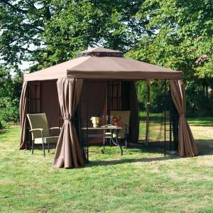 Gartenpavillon Metall - Pure Day Gala mit Seitenwänden und Moskitonetzen