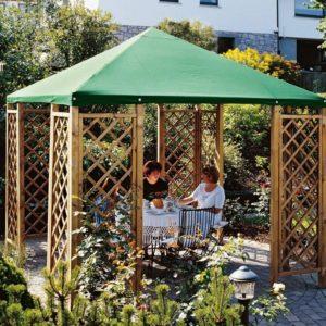 Gartenpavillon Holz - Pavillon 3x3 m aus Holz mit Rank Gitter und Dachplane grün von Gartenpirat®