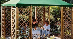 Gartenpavillon Holz – Pavillon 3×3 m aus Holz mit Rank Gitter und Dachplane